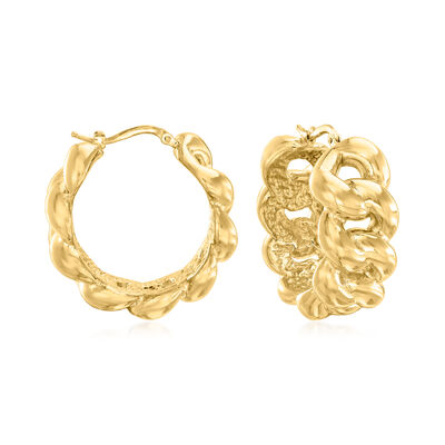 Italian 18kt Gold Over Sterling Link Hoop Earrings