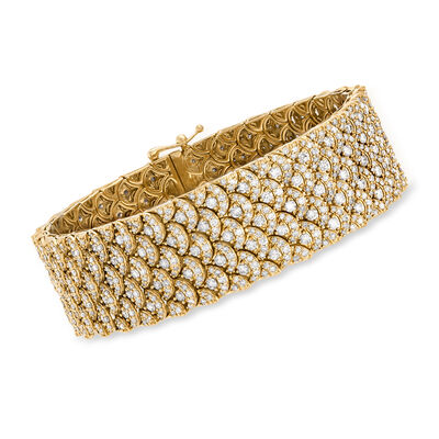 10.00 ct. t.w. Diamond Scalloped Bracelet in 14kt Yellow Gold