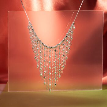 "Italian Sterling Silver Bead Fringe Bib Necklace. 18"", , default"
