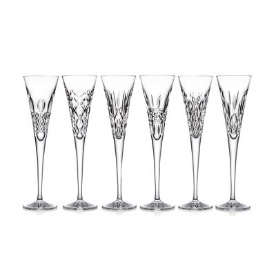 "Waterford Crystal ""Heritage"" Set of 6 Flute Glasses"