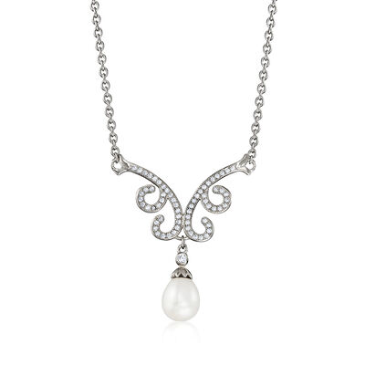 8-8.5mm Cultured Pearl and .60 ct. t.w. White Topaz Drop Necklace in Sterling Silver