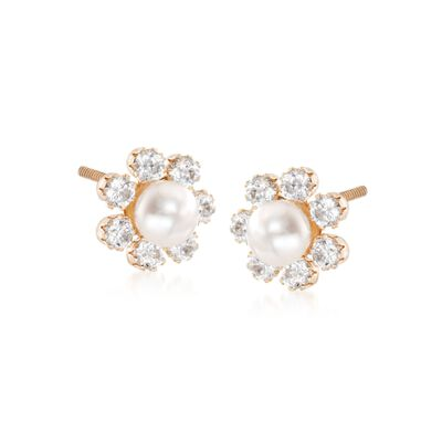 Child's 2mm Cultured Pearl Flower Earrings with .15 ct. t.w. CZs in 14kt Yellow Gold, , default
