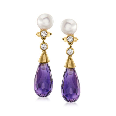 C. 1980 Vintage 6.5mm Cultured Pearl, 8.00 ct. t.w. Amethyst and .30 ct. t.w. Diamond Drop Clip-On Earrings in 18kt Yellow Gold