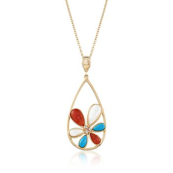 """3-10mm Multi-Stone Flower Pendant Necklace With CZ Accents in 18kt Gold Over Sterling. 18"""", , default"""