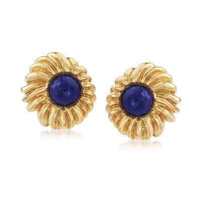 C. 1980 Vintage Tiffany Jewelry Lapis Earrings in 18kt Yellow Gold, , default
