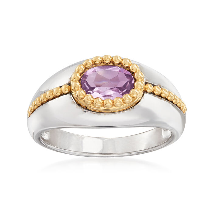 .90 Carat Amethyst Ring in Sterling Silver and 14kt Yellow Gold