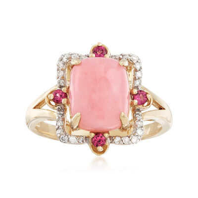 10x8mm Pink Opal Ring with .20 ct. t.w. Purple Rhodolites and .11 ct. t.w. Diamonds in 14kt Yellow Gold, , default