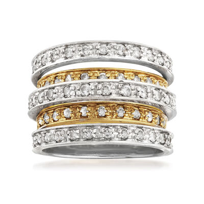 C. 1990 Vintage 1.15 ct. t.w. Diamond Multi-Band Ring in 14kt Two-Tone Gold, , default