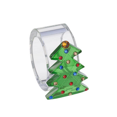 Judith Ripka Set of 4 Tree Crystal Napkin Rings