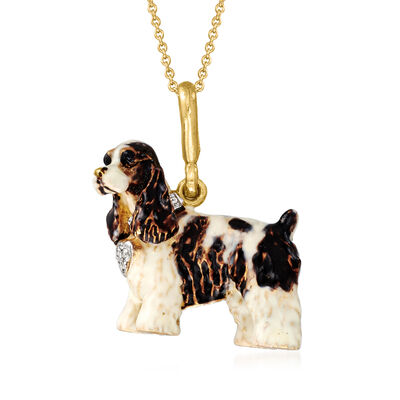 C. 1980 Vintage Multicolored Enamel Cavalier King Charles Spaniel Pendant Necklace in 18kt Yellow Gold