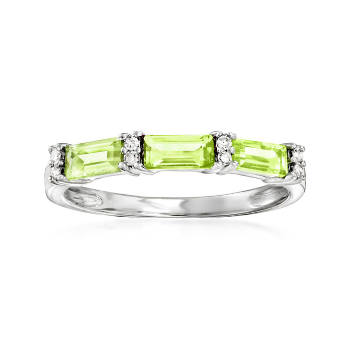 .65 ct. t.w. Peridot Ring with Diamond Accents in 14kt White Gold