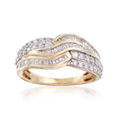 1.00 ct. t.w. Baguette and Round Diamond Curved Multi-Row Ring in 14kt Yellow Gold, , default