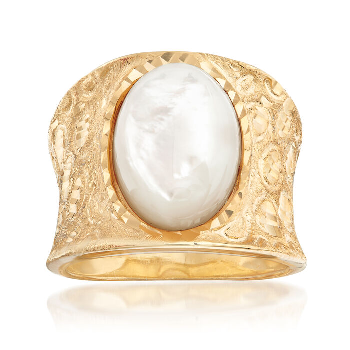 Italian Mother-Of-Pearl Diamond-Cut Ring in 18kt Gold Over Sterling