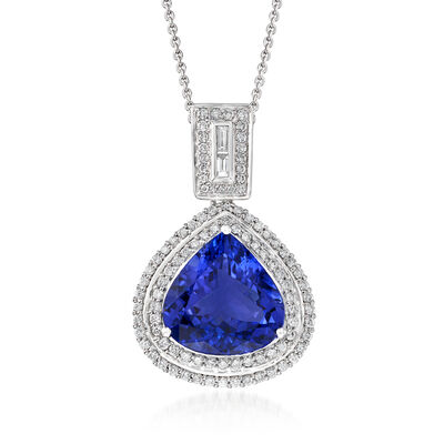 8.75 Carat Tanzanite and .93 ct. t.w. Diamond Pendant Necklace in 18kt White Gold, , default