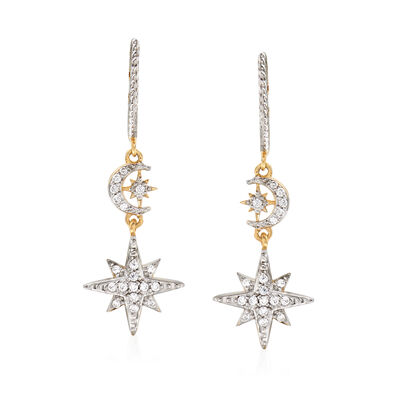 .20 ct. t.w. Diamond Star and Moon Drop Earrings in 18kt Yellow Gold Over Sterling Silver, , default