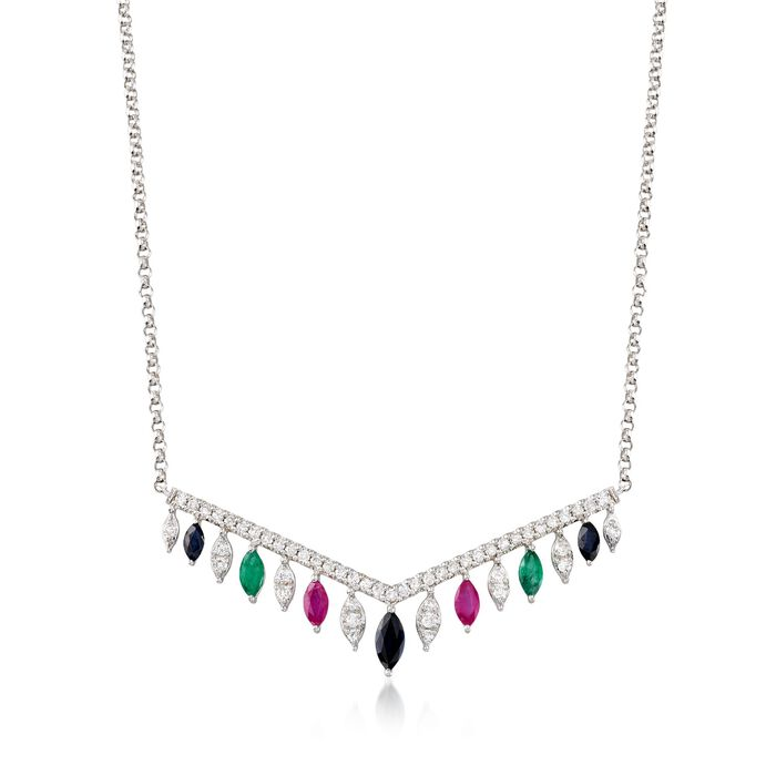 """1.10 ct. t.w. Multi-Stone and .50 ct. t.w. Diamond Necklace in 14kt White Gold. 16"""""""