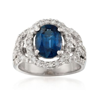 3.00 Carat Sapphire and 1.35 ct. t.w. Diamond Ring in 18kt White Gold, , default
