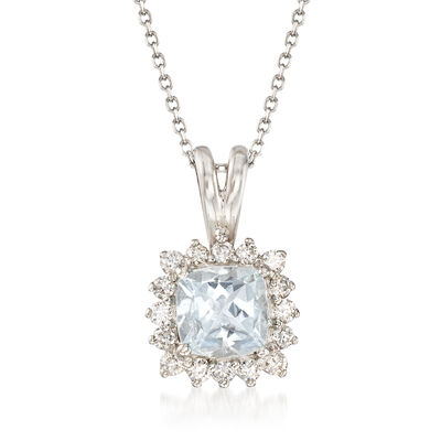 .80 Carat Aquamarine and .25 ct. t.w. Diamond Pendant Necklace in 14kt White Gold
