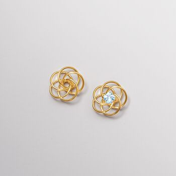 .50 ct. t.w. Round Aquamarine Stud Earrings in 14kt Yellow Gold, , default