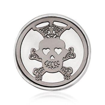 Italian Sterling Silver Skull and Crossbones Disc Ring, , default