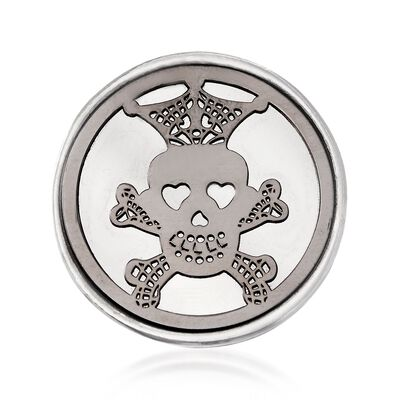 Italian Sterling Silver Skull and Crossbones Disc Ring, , default