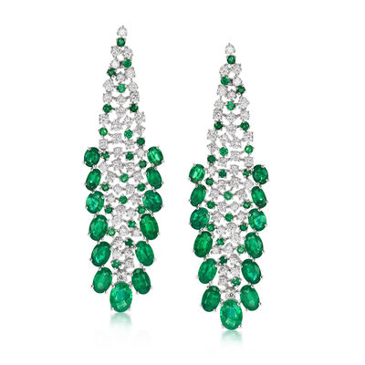 11.50 ct. t.w. Emerald and 2.85 ct. t.w. Diamond Drop Earrings in 18kt White Gold
