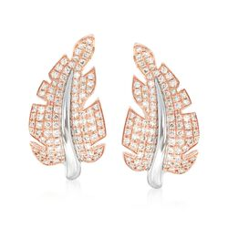 "Simon G. ""Garden"" .66 ct. t.w. Diamond Leaf Earrings in 18kt Two-Tone Gold , , default"
