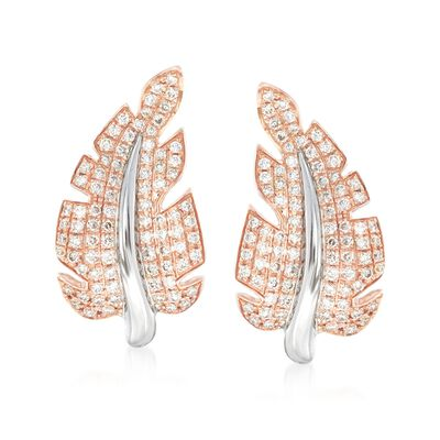 "Simon G. ""Garden"" .66 ct. t.w. Diamond Leaf Earrings in 18kt Two-Tone Gold, , default"