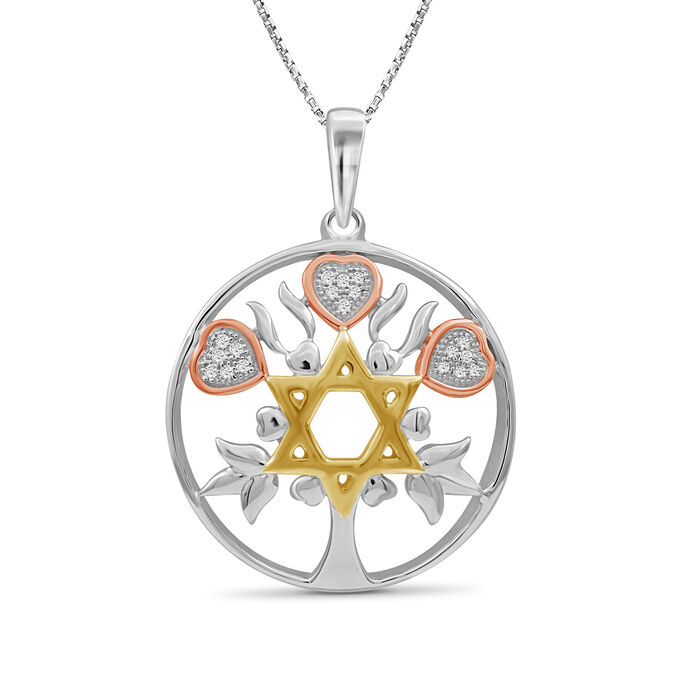 """Star of David Pendant Necklace in Tri-Colored Sterling Silver. 18"""", , default"""
