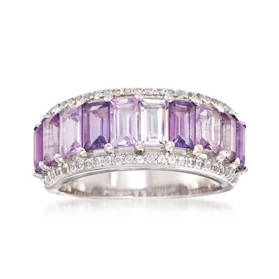2.00 ct. t.w. African and Brazilian Amethyst Ring with .20 ct. t.w. White Topaz in Sterling Silver, , default