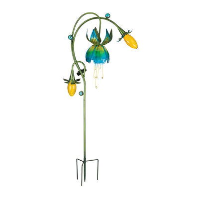 "Regal Yellow and Blue ""Fuchsia"" Outdoor Decorative Solar Garden Stake , , default"