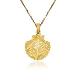 "14kt Yellow Gold Scallop Shell Pendant Necklace. 18"", , default"