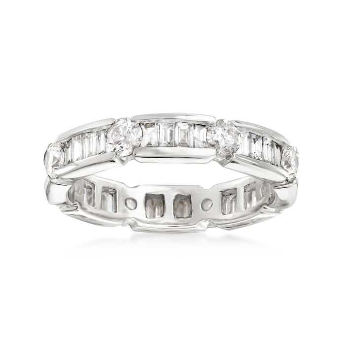 2.00 ct. t.w. Baguette and Round Diamond Eternity Band in 14kt White Gold, , default