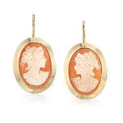 Italian Oval Shell Cameo Drop Earrings in 14kt Yellow Gold, , default