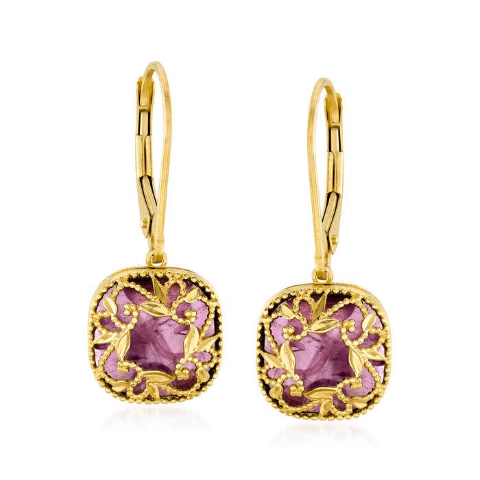 Italian 4.00 ct. t.w. Amethyst Floral Vine Drop Earrings in 14kt Yellow Gold