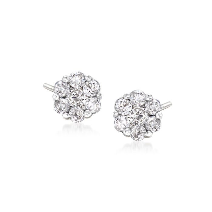 .25 ct. t.w. Diamond Floral Stud Earrings in 14kt White Gold , , default