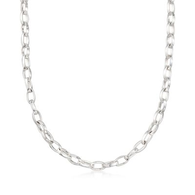 "Zina Sterling Silver ""Contemporary"" Oval-Link Necklace, , default"