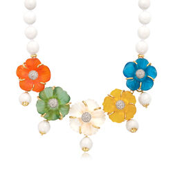 Multicolored Rock Crystal and White Agate Bead Flower Necklace With 1.40 ct. t.w. CZ in 18kt Gold Over Sterling, , default