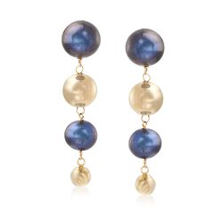 8-12mm Black Cultured Pearl and 14kt Yellow Gold Bead Drop Earrings, , default