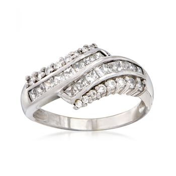 C. 1990 Vintage 1.50 ct. t.w. CZ Bypass Ring in 14kt White Gold. Size 8.5, , default