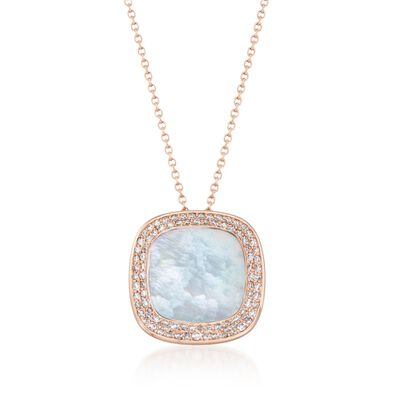 "Roberto Coin ""Carnaby Street"" .65 ct. t.w. Diamond and Mother-Of-Pearl Pendant Necklace in 18kt Rose Gold, , default"