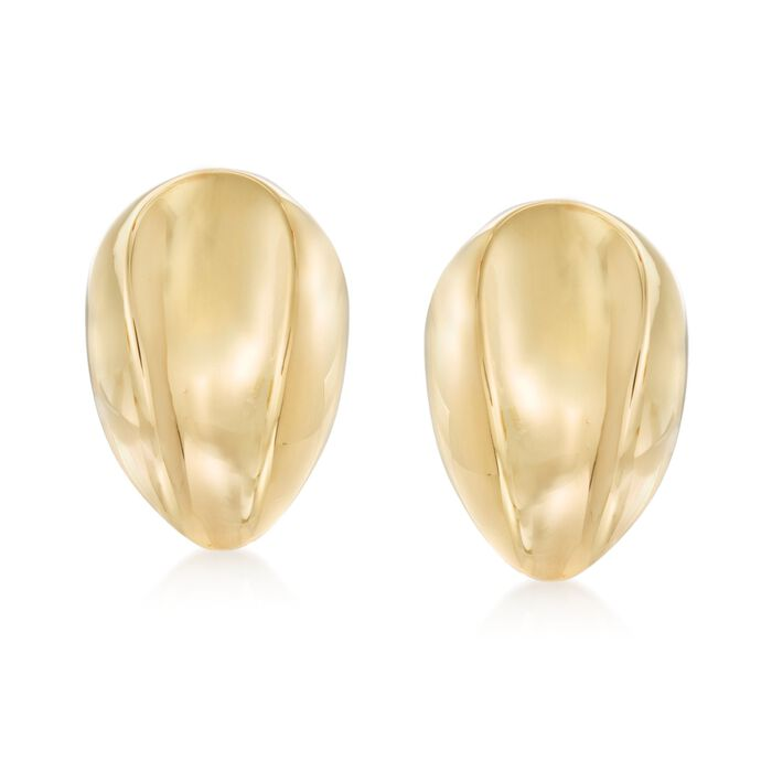Italian 14kt Yellow Gold Concave Clip-On Earrings, , default