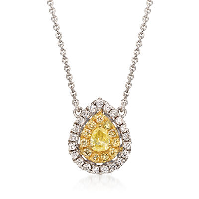 .64 ct. t.w. Yellow and White Diamond Teardrop Necklace in 18kt Two-Tone Gold