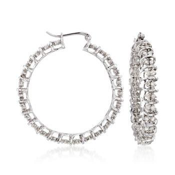 "2.00 ct. t.w. Diamond Hoop Earrings in Sterling Silver. 1 3/8"", , default"