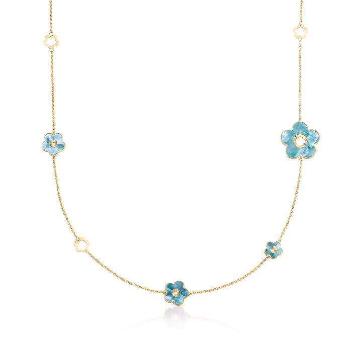 11.5-25mm Green and White Mother-Of-Pearl Flower Station Necklace in 18kt Yellow Gold