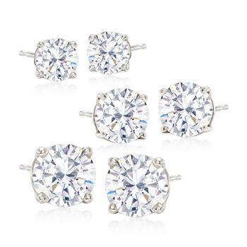 6.00 ct. t.w. CZ Jewelry Set: Three Pairs of Stud Earrings in Sterling Silver, , default