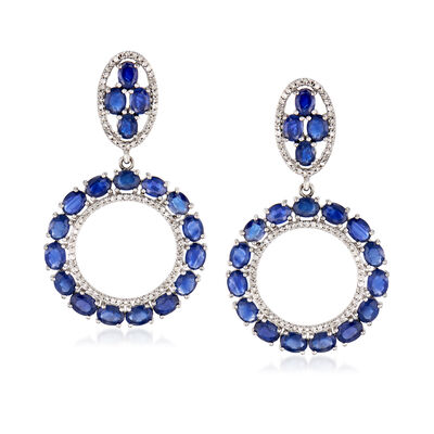 9.00 ct. t.w. Sapphire and .52 ct. t.w. Diamond Circle Drop Earrings in 14kt White Gold