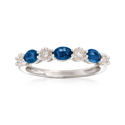 .60 ct. t.w. Sapphire and Diamond-Accented Stackable Ring in 14kt White Gold