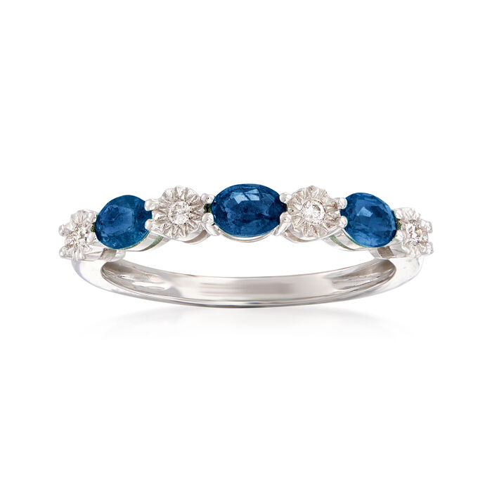 .60 ct. t.w. Sapphire and Diamond-Accented Stackable Ring in 14kt White Gold, , default