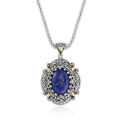 Lapis Bali-Style Pendant Necklace in Sterling Silver with 18kt Yellow Gold